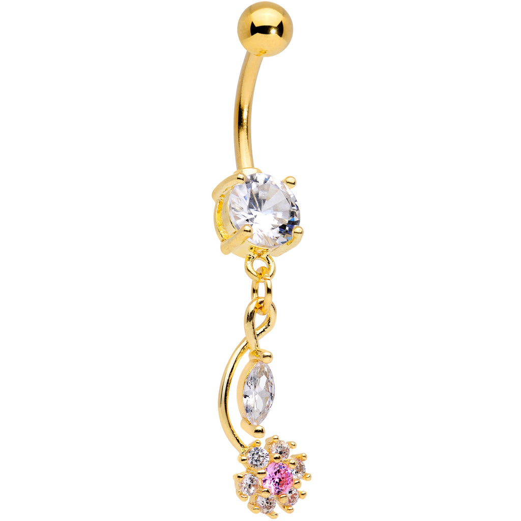 2bb588c18399e Clear Pink CZ Gem Gold Tone Twist Flower Dangle Belly Ring