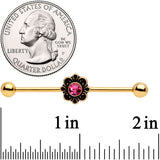 14 Gauge Pink Gem Gold Tone Flower Industrial Barbell 38mm