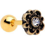 16 Gauge 1/4 Clear Gem Gold Tone Flower Emblem Tragus Cartilage Earring