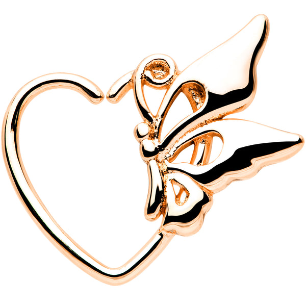 18 Gauge 3/8 Rose Gold Tone Butterfly Heart Left Ear Closure Ring