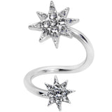 14 Gauge 3/8 Clear Gem Double Eight Pointed Star Twister Belly Ring