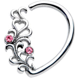 16 Gauge 3/8 Pink Gem Vine Half Heart Right Ear Closure Ring
