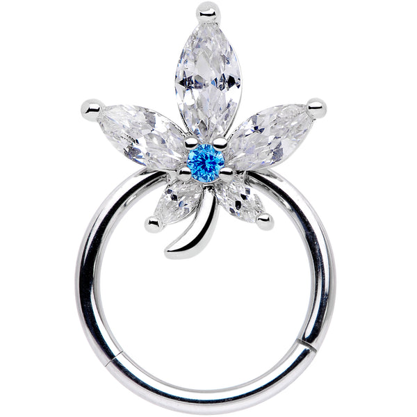 16 Gauge 3/8 Clear Blue CZ Gem Marijuana Leaf Hinged Segment Ring