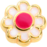 20 Gauge 5/16 Gold Tone Spring Flower L Shaped Nose Ring