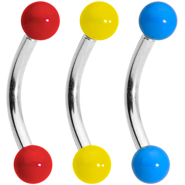 16 Gauge 5/16 Red Yellow Blue Glow in the Dark Curved Barbell Set of 3
