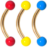 16 Gauge 5/16 Red Yellow Blue Glow Gold Tone Curved Barbell Set of 3