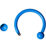 16 Gauge 3/8 Blue Glow in the Dark Horseshoe Curved Barbell Set