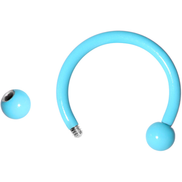 16 Gauge 3/8 Light Blue Glow in the Dark Horseshoe Curved Barbell Set