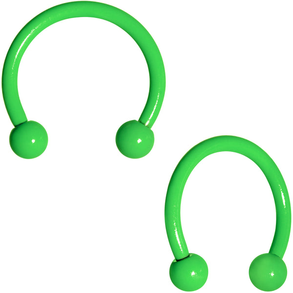 16 Gauge 3/8 Green Glow in the Dark Horseshoe Curved Barbell Set