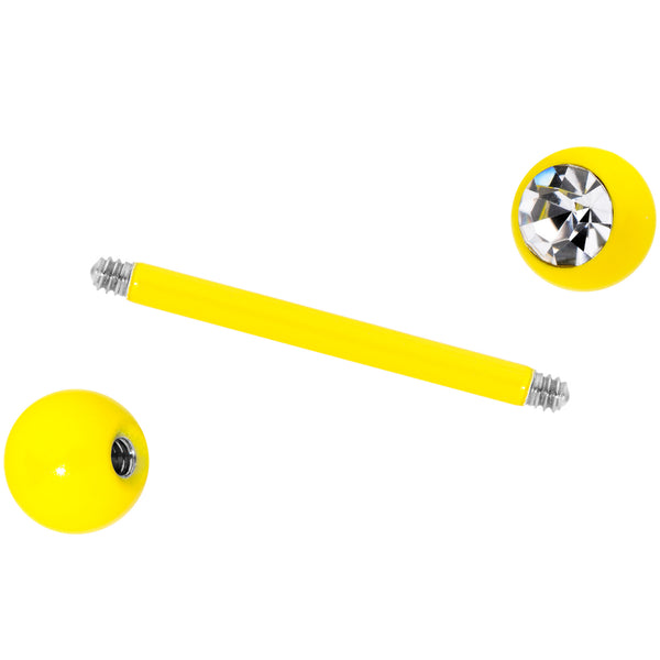 Clear Gem Yellow Glow in the Dark Barbell Tongue Ring