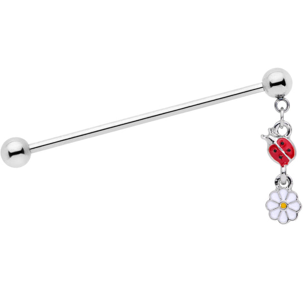 14 Gauge Red White Ladybug Flower Dangle Industrial Barbell 38mm