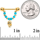 14 Gauge 5/8 Faux Turquoise Gold Tone Skull Dangle Nipple Ring Set