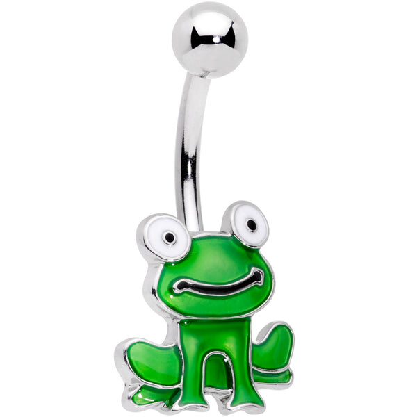 Green Happy Frog Belly Ring