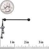 14 Gauge Black Planet Stars Dangle Industrial Barbell 38mm