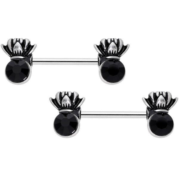14 Gauge 9/16 Black CZ Gem Lotus Flower Crown Barbell Nipple Ring Set