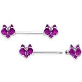 14 Gauge 9/16 Clear Gem Purple Orchid Flower Barbell Nipple Ring Set