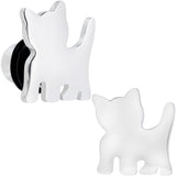 Steel Cat Lover Kitty Cat Single Flare Plug Set 14 Gauge to 0 Gauge