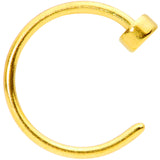 22 Gauge 1/4 Gold Tone Disc Nose Hoop
