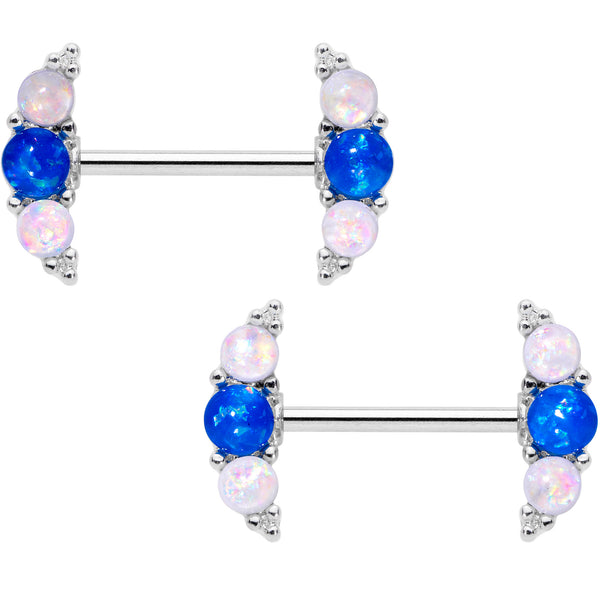 14 Gauge 9/16 Faux Blue White Opal Curve Barbell Nipple Ring Set