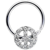 16 Gauge 3/8 Clear Gem Retro Peace Sign Closure Ring