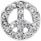 16 Gauge 3/8 Clear Gem Retro Peace Sign Labret Monroe Tragus