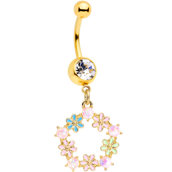 Clear Gem Gold Tone Pink Blue Green Flower Dangle Belly Ring