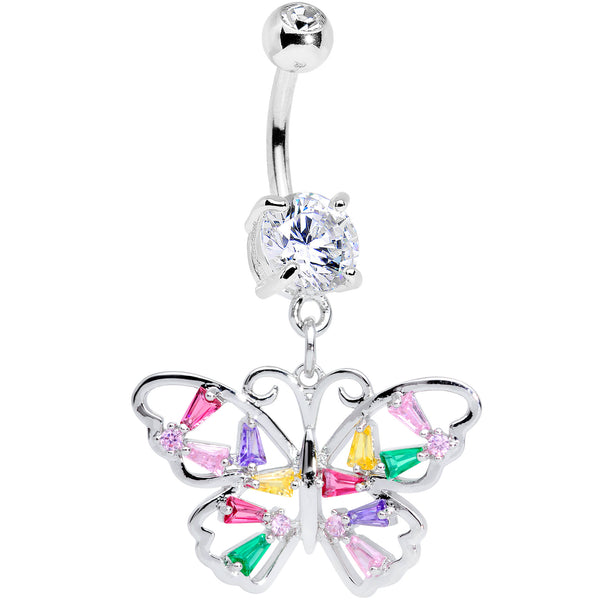 Green Pink Red CZ Gem Spring Butterfly Dangle Belly Ring