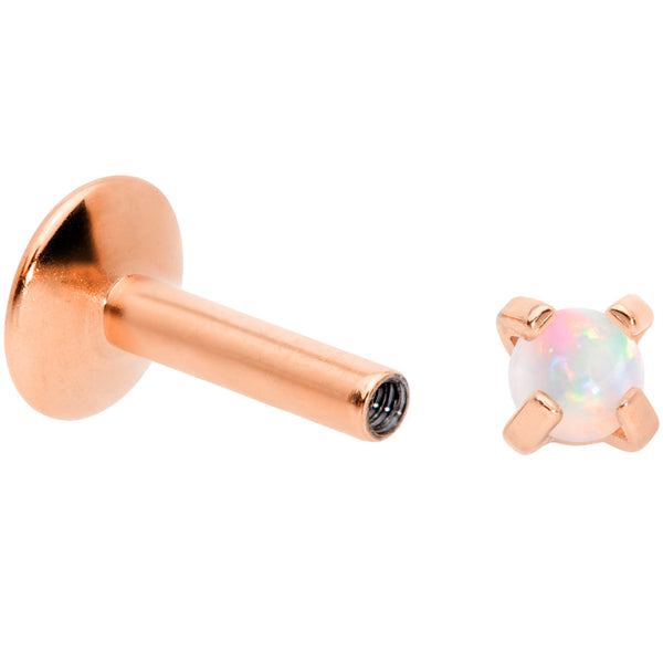 16G 1/4 2mm Syn Opal Rose Gold G23 Titanium Internal Thread Labret
