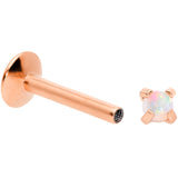 16G 5/16 2mm Syn Opal Rose Gold G23 Titanium Internal Thread Labret