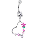 Clear CZ Gem Green White Faux Opal Flower Heart Dangle Belly Ring