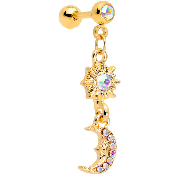16 Gauge 1/4  Aurora Gem Gold Tone Moon Dangle Cartilage Tragus
