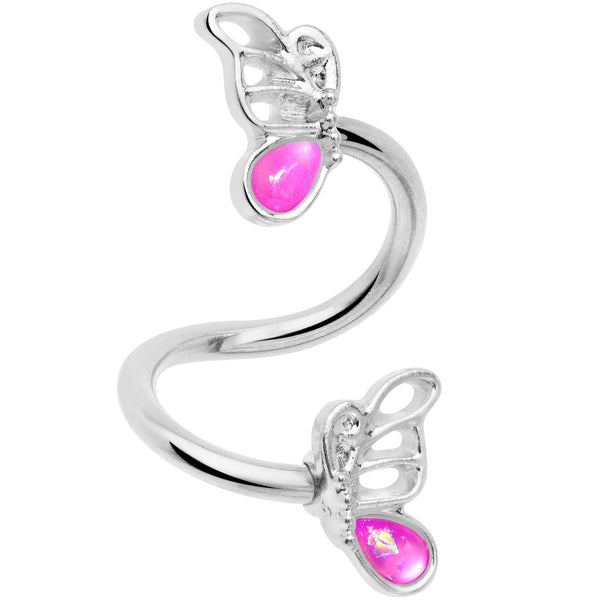 Pink Faux Opal Butterfly Spiral Twister Belly Ring