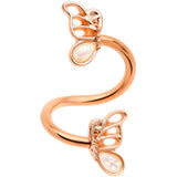 White Faux Opal Rose Gold Tone Butterfly Spiral Twister Belly Ring