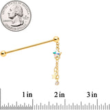 14 Gauge Aurora Gem Gold Tone Star Dangle Industrial Barbell 38mm