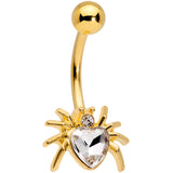 Clear Gem Gold Tone Sexy Heart Spider Belly Ring