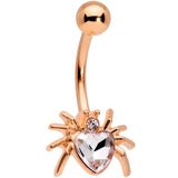 Clear Gem Rose Gold Tone Sexy Heart Spider Belly Ring