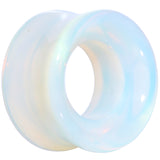Translucent White Glass Tunnel Plug Set 2 Gauge to 1 Inch