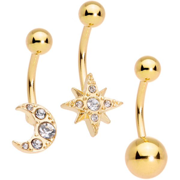 Clear Gem Gold Tone Celestial Moon Star Belly Ring Set of 3