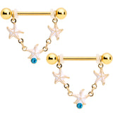 14 Gauge 9/16 Blue Gem Gold Tone Starfish Dangle Nipple Ring Set