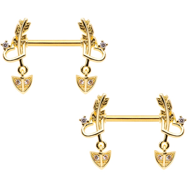 14 Gauge 9/16 Clear CZ Gem Gold Tone Love Feather Barbell Nipple Ring Set