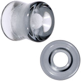 Translucent Black Glass Tunnel Plug Set 2 Gauge to 1 Inch