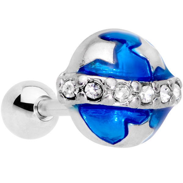 16 Gauge 1/4 Clear Gem Blue Planet Saturn Cartilage Tragus Earring