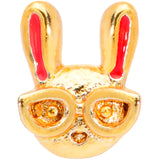 22 Gauge 5/16 Pink Gold Tone Nerdy Easter Bunny L Shaped Nose Ring
