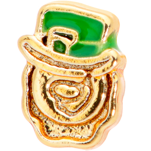 18 Gauge 5/16 Green Gold Tone Lucky Leprechaun L Shaped Nose Ring