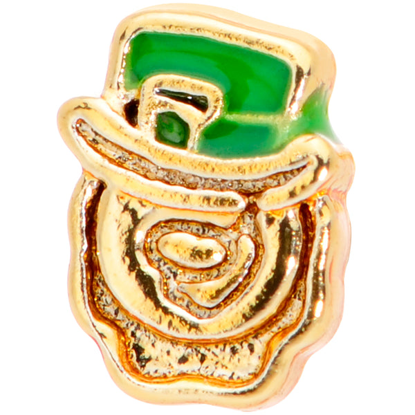 20 Gauge 5/16 Green Gold Tone Lucky Leprechaun L Shaped Nose Ring