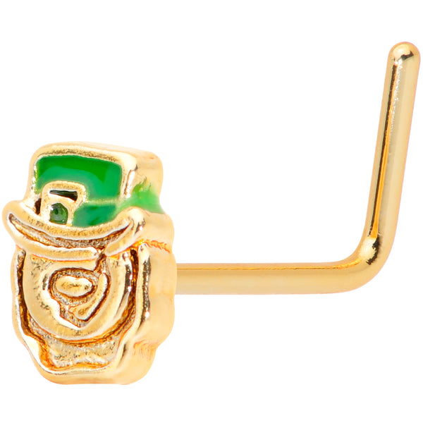 22 Gauge 5/16 Green Gold Tone Lucky Leprechaun L Shaped Nose Ring