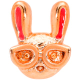 22 Gauge 5/16 Pink Rose Gold Tone Nerdy Easter Bunny L Shaped Nose Ring