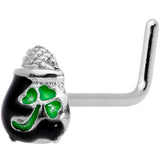 20 Gauge 5/16 St Patricks Day Pot O Gold L Shaped Nose Ring