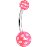 Pink White Polka Dot UV Reactive Acrylic Ball Belly Ring