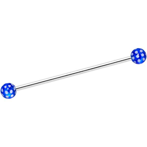 14 Gauge Blue White Polka Dot UV Industrial Barbell 38mm